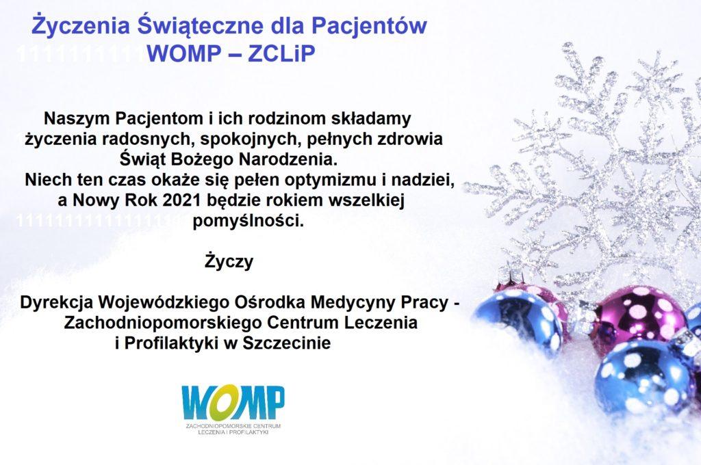 Życzenia Świąteczne dla pacjentów WOMP-ZCLiP